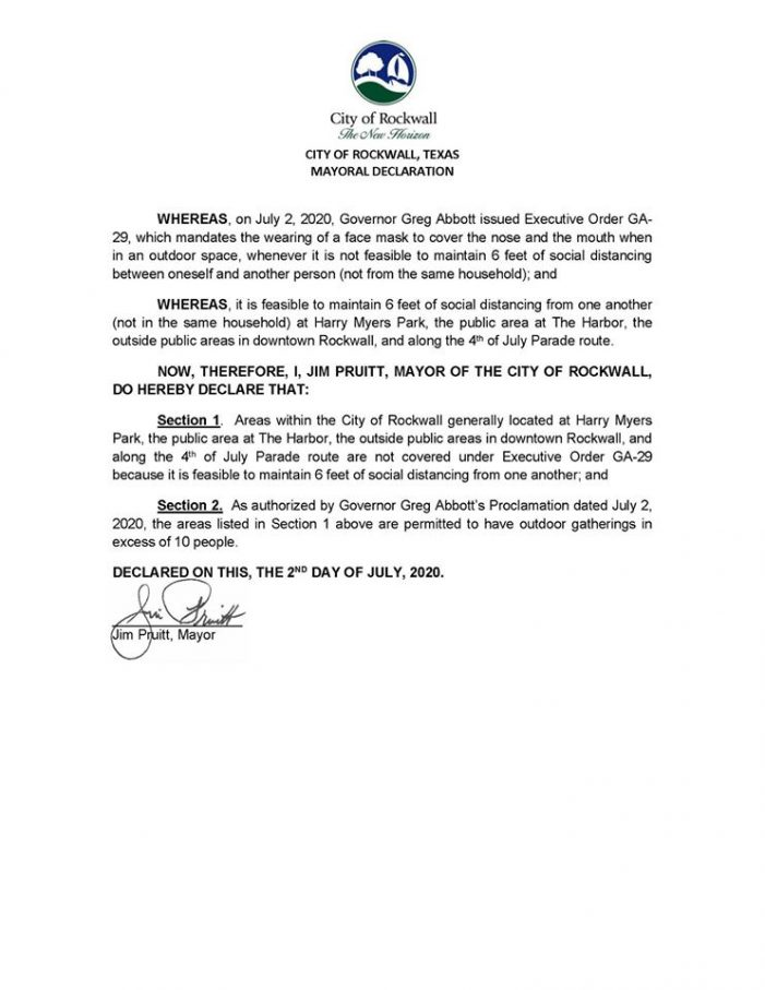 City of Rockwall Mayoral Declaration in Response to Governor's Order (7/2/2020)