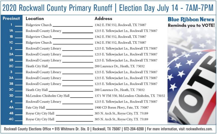 Where to vote in Rockwall County Primary Runoff Election Tuesday