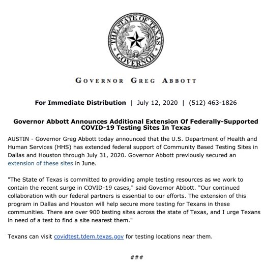 Governor Abbott announces additional extension of federally-supported COVID-19 testing sites in Texas