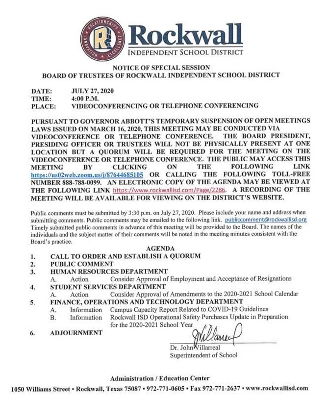 Notice of Rockwall ISD Board of Trustees Special Session Monday, July 27