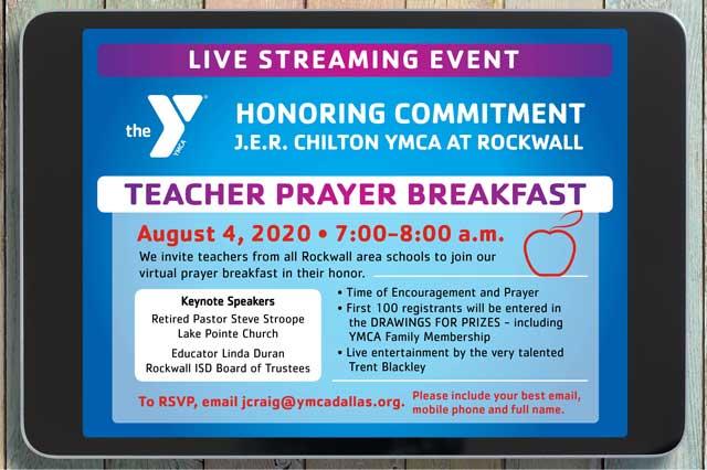 Rockwall YMCA to host live stream Teacher Prayer Breakfast