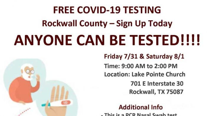 Rockwall County free COVID-19 testing at Lake Pointe Church July 31 and Aug. 1