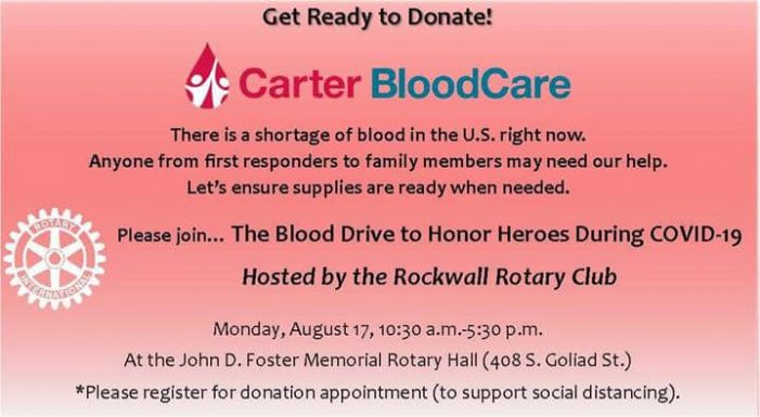 Rockwall Rotary to host Blood Drive to Honor Heroes during COVID-19