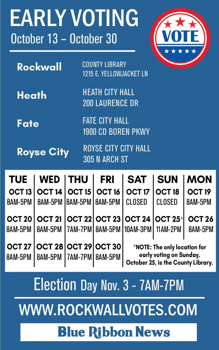 Rockwall County early voting locations, hours for Nov. 3 General Election