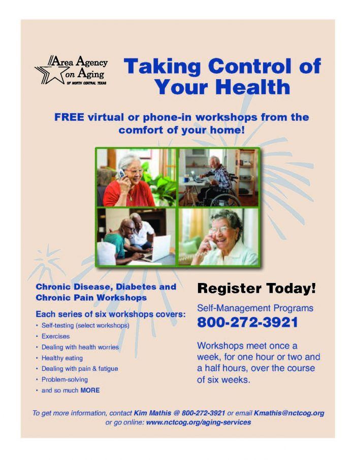 Area Agency on Aging offering free virtual workshops for chronic pain, disease, diabetes