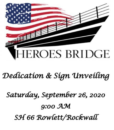 UPDATE: New start time for Official Heroes Bridge Dedication in Rockwall-Rowlett