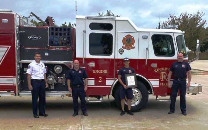 Rockwall Fire Department recognizes engine crew for lifesaving efforts in submerged vehicle incident
