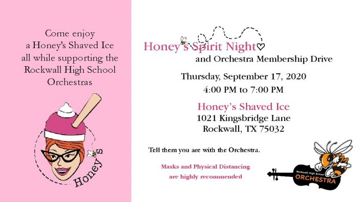Honey's Spirit Night Sept. 17 to benefit Rockwall High School Orchestras
