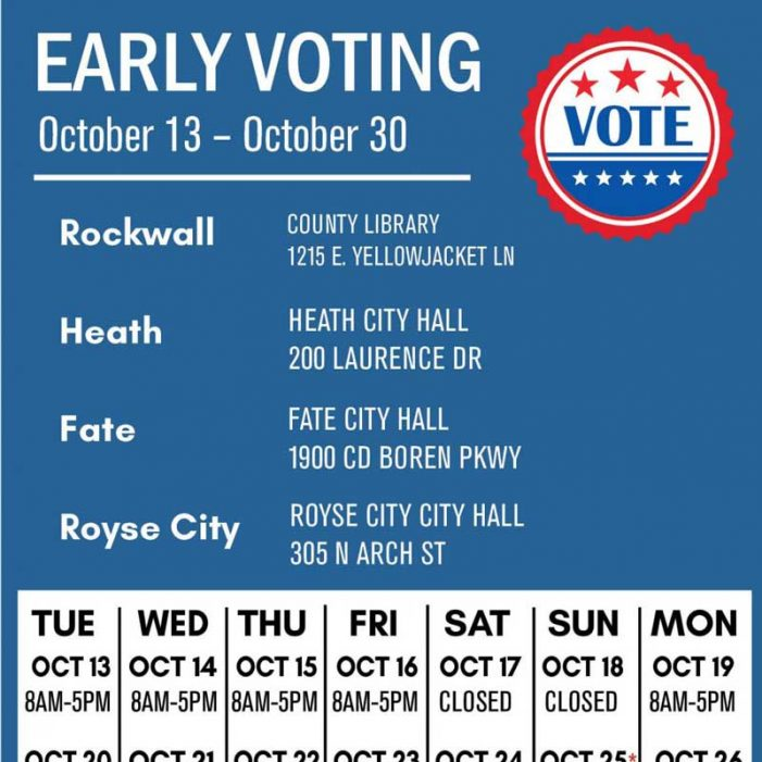 Location, hours for Rockwall County early voting (Oct. 13-30)