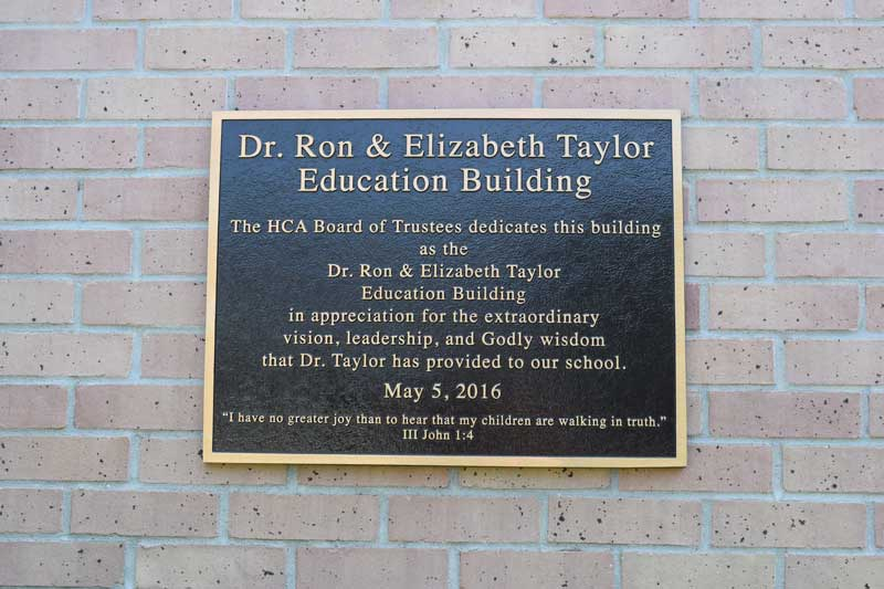 Plaque dedicated to Dr. Ron Taylor at Heritage Christian Academy