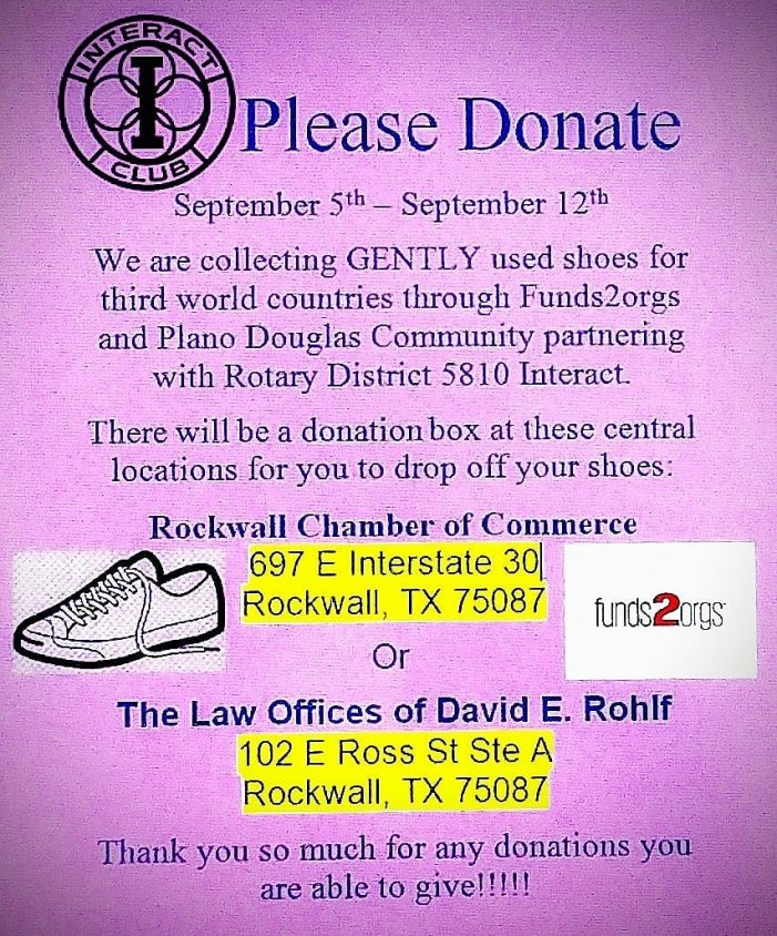 Donations requested for Rockwall High Interact Club's Shoe Drive