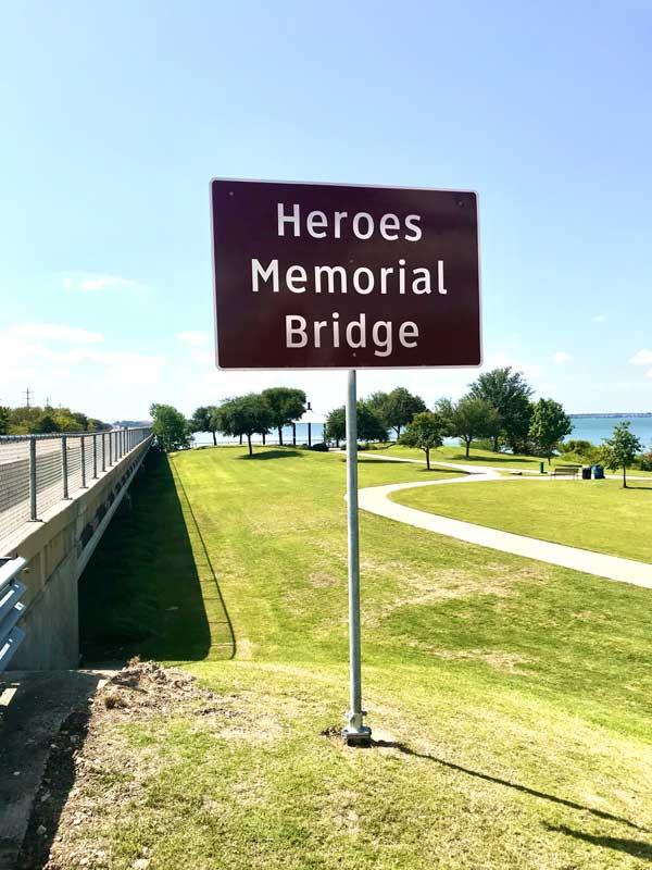 Heroes Memorial Bridge sign