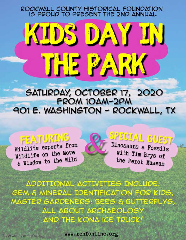 Rockwall County Historical Foundation Kids Day in the Park flyer