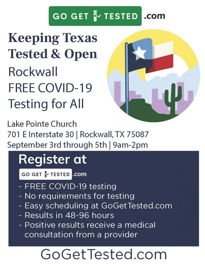 Free COVID-19 testing at Lake Pointe Church Rockwall Sept. 3-5