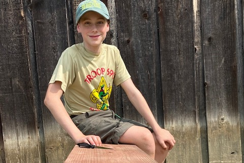 Jude Wilkerson, 13, builds benches at Rockwall's historical museum for Eagle Scout project