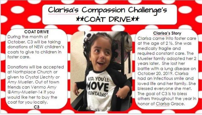 Clarisa's Compassion Challenge: Coat Drive to honor memory of local child