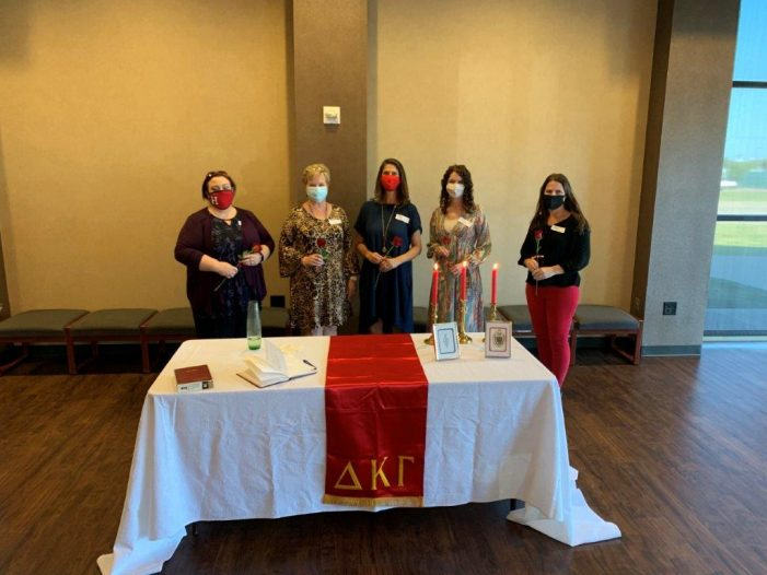 Delta Kappa Gamma inducts new members, t-shirt sales to benefit local resident fighting breast cancer