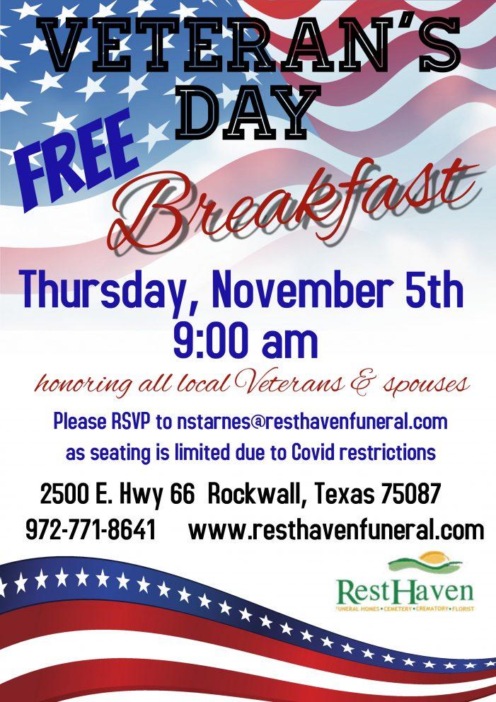 Rest Haven welcomes Rockwall area veterans, spouses for free Veteran's Day Breakfast on Nov. 5