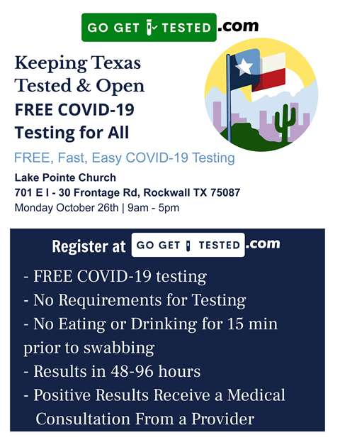 Free COVID-19 testing at Lake Pointe Church in Rockwall Monday