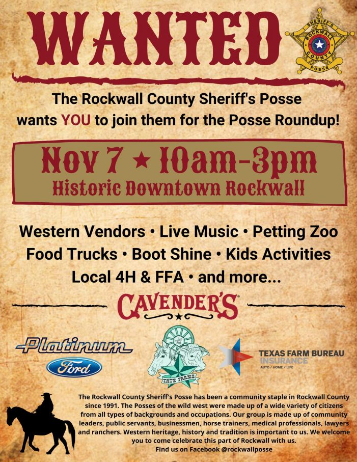 Rockwall County Sheriff's Posse Round Up to feature western vendors, live music, food trucks