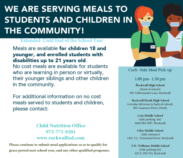 Applications available for no cost meals through Rockwall ISD Child Nutrition Office