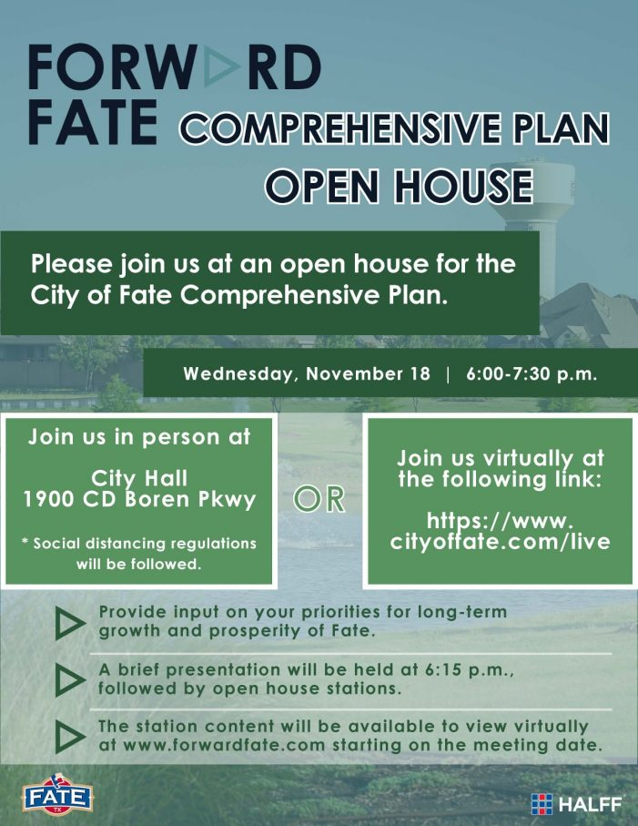 City of Fate to host Comprehensive Plan Open House Wednesday