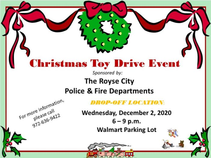 Royse City Police and Fire to host toy drive Dec. 2