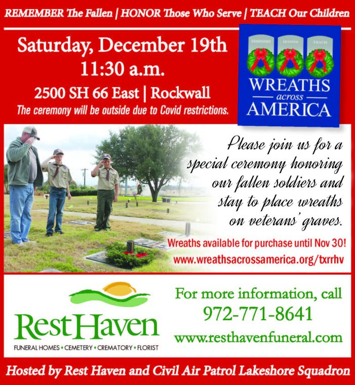 Wreaths Across America: Community welcome at laying of wreaths at Rest Haven Rockwall