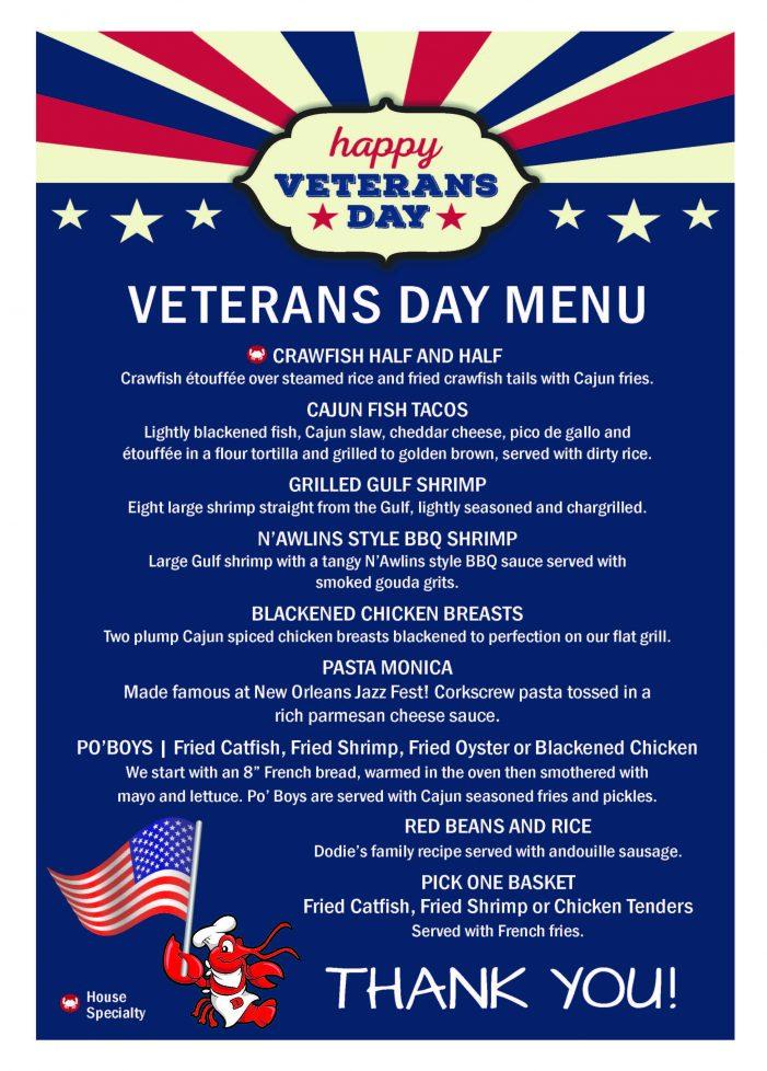 Veterans eat free at Dodie's Rockwall on Veteran's Day