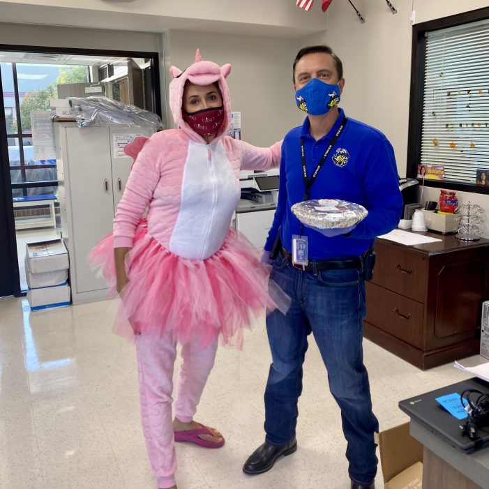 Promise fulfilled: Garland ISD principals surprised with pies by a pink unicorn