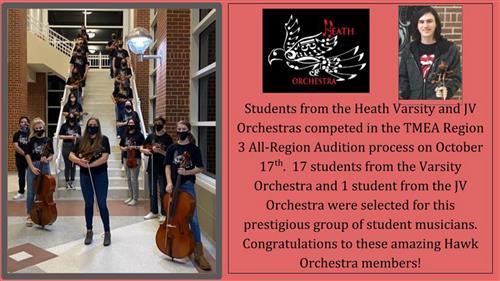 Rockwall-Heath students earn spots in TMEA Region 3 All-Region Orchestra