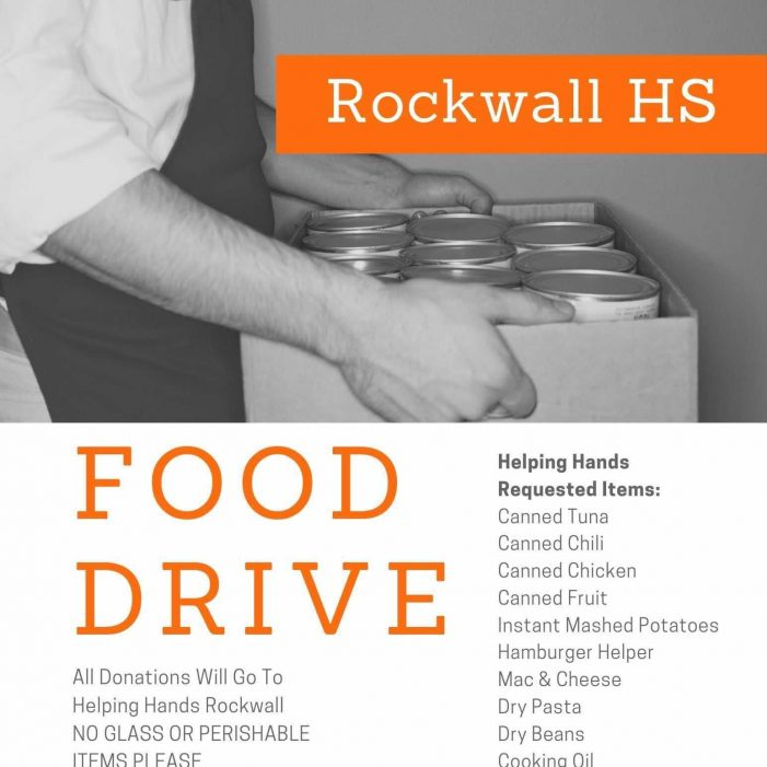 Rockwall High School Student Council, Robotics, AVID and PALS hosting food drive to benefit Helping Hands