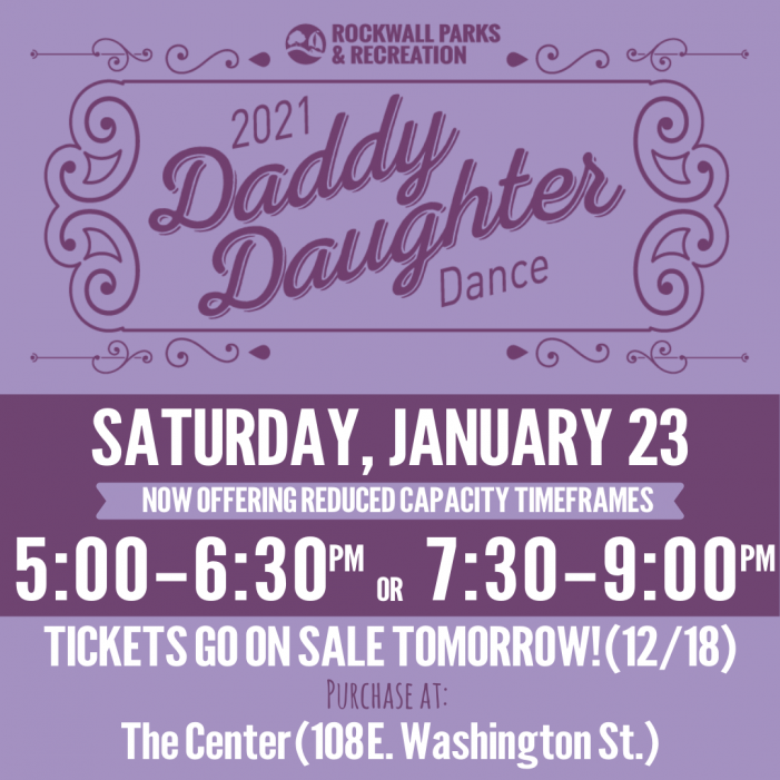 Tickets on sale for Rockwall's Daddy Daughter Dance, with reduced capacity time frames