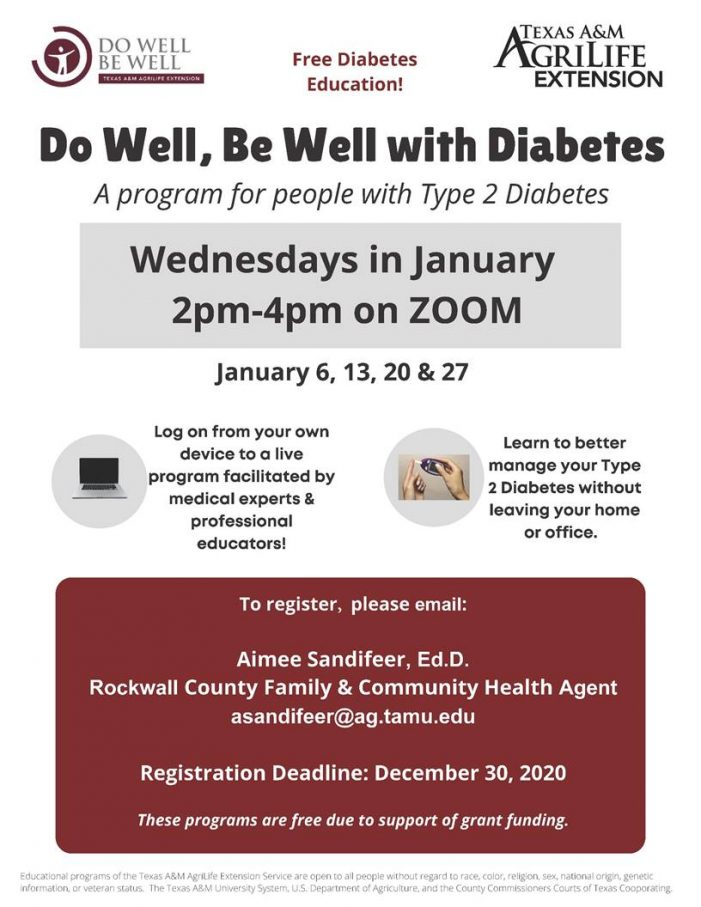 Free, virtual Diabetes series offered through Texas A&M AgriLife Extension Service-Rockwall County