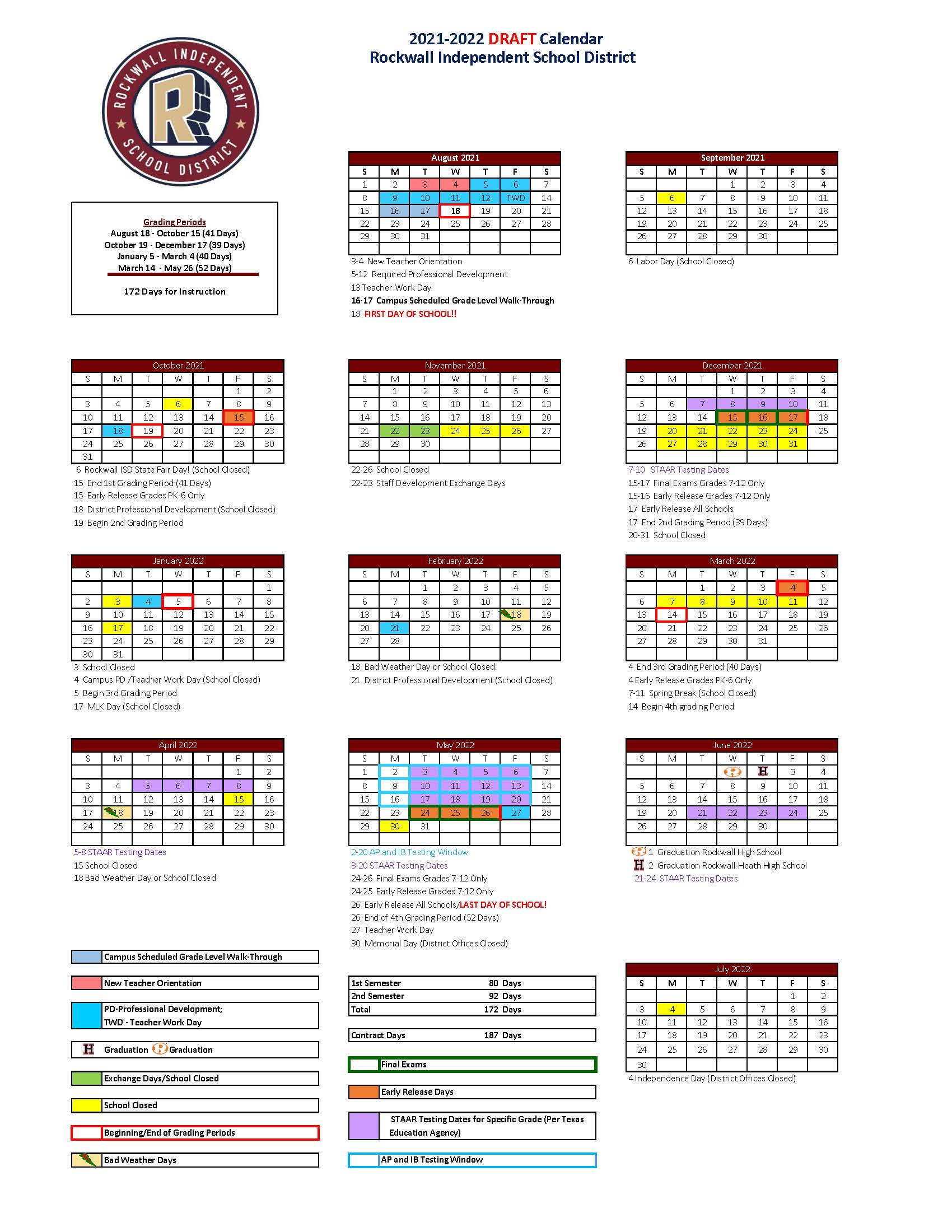 Pictures of 2021-2022 Testing Calendar