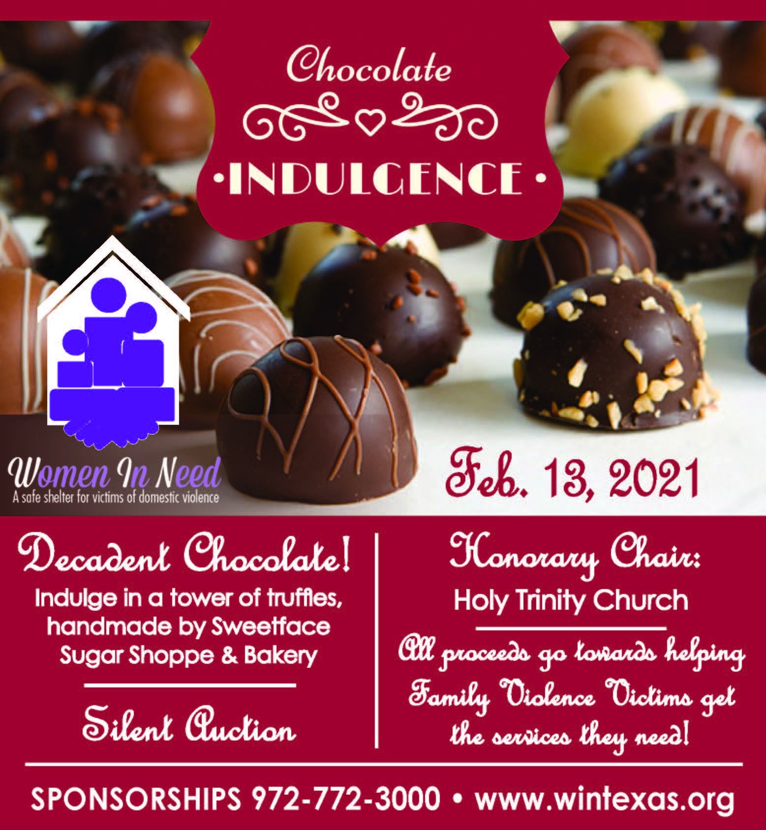 Date set for 8th Annual Chocolate Indulgence fundraiser benefiting Women in Need