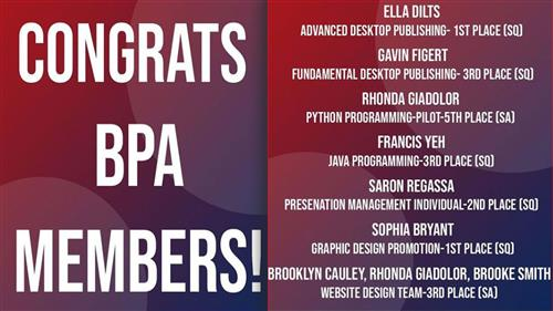 Five Business Professionals of America students advance to State