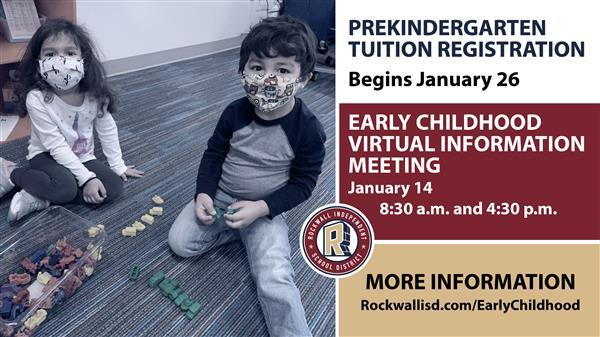 Rockwall ISD Early Childhood/Prekindergarten tuition registration begins Jan. 26