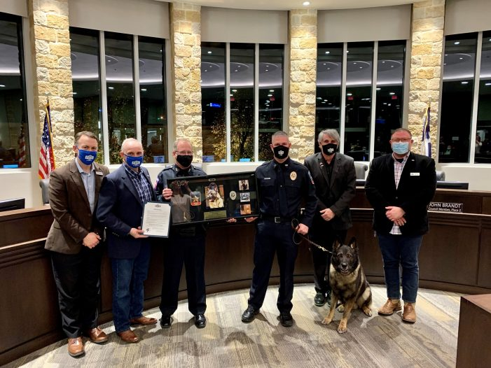 K9 officer Czar retires, Fate City Council declares today 'K9 Public Safety Officer Czar Day'