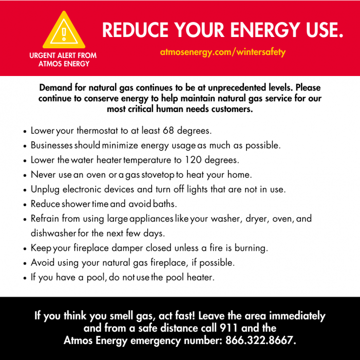 Urgent need to conserve energy during historic winter storm
