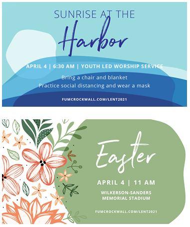 Easter Sunday: Sunrise Service at Rockwall Harbor, Music Worship Service at stadium