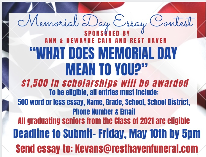 Rest Haven accepting entries in its annual Memorial Day Essay Contest for scholarships
