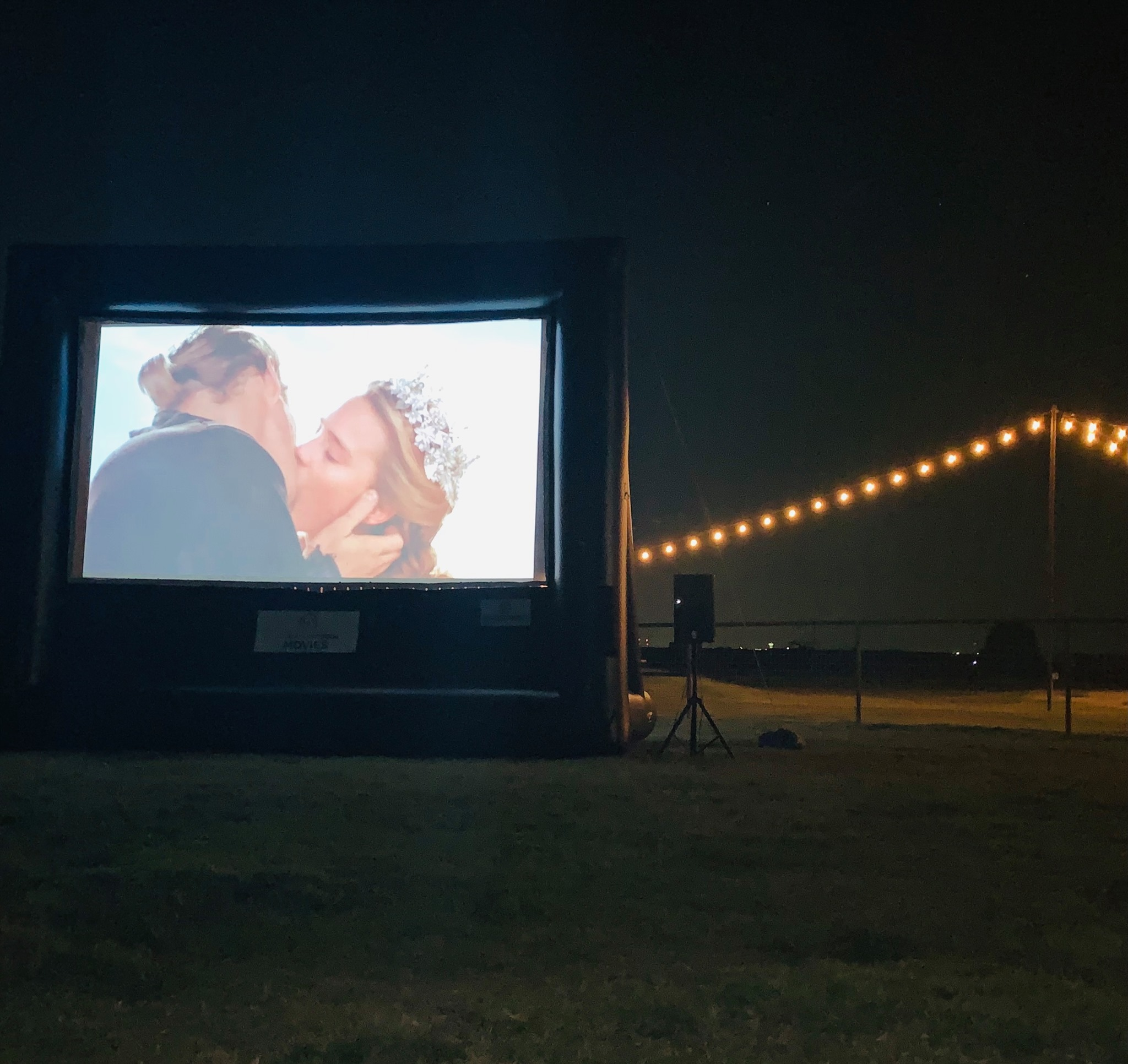 Drive-in movie showing 'Princess Bride' at Lakeshore Church-Rockwall