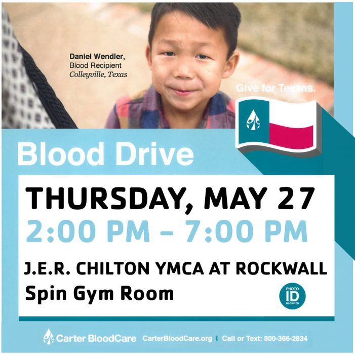 JER Chilton YMCA at Rockwall to host blood drive to replenish supply for hospital patients