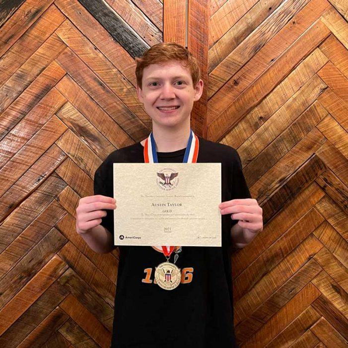 Rockwall High School student Austin Taylor earns third Presidential Service Award for volunteerism