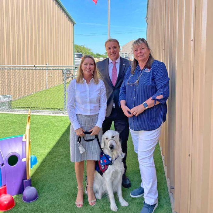 Rockwall Patriot PAWS welcomes Rep. Pat Fallon and his office Facility Dog Merlin