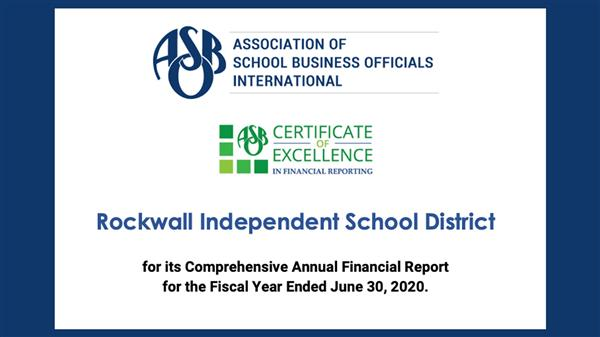 Rockwall ISD earns certificate for Excellence in Financial Reporting