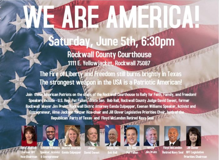 'We are America' rally planned at Rockwall County Courthouse June 5
