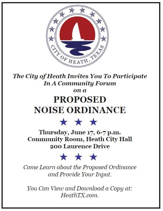 City of Heath to host Community Forum on proposed Noise Ordinance