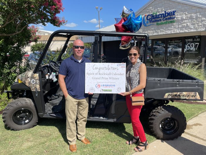Rockwall Chamber presents the keys to an ATV for Spirit of Rockwall Calendar giveaway